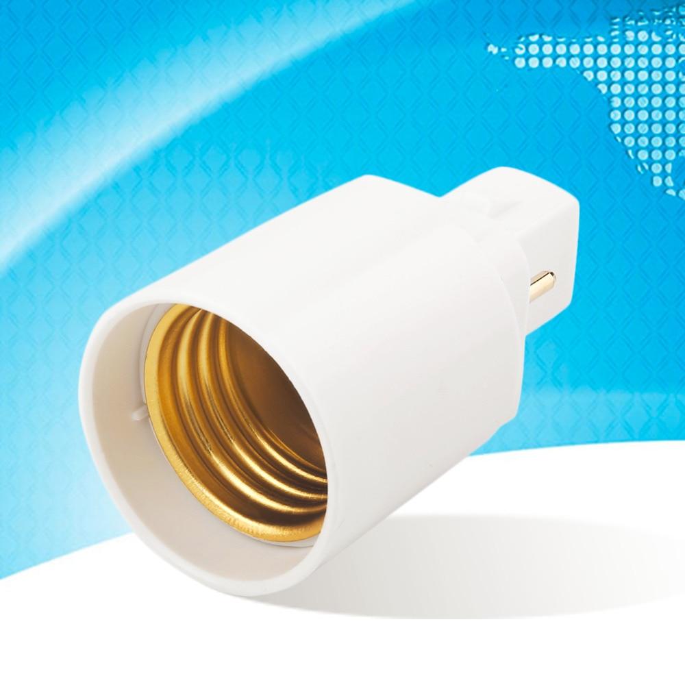 ICOCO 1pcs White Retardant PBT G24 to E27 LED Socket Base Screw LED Lamp Halogen Light Bulb Adapter Converter 2 Pin