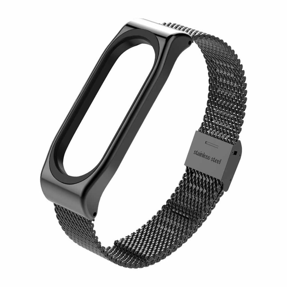כושר גשש כושר צמיד נירוסטה צמיד שעון החלפה רצועת לשיאו Mi Band 3 smartwatch
