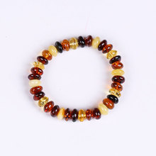 JIUDUO Unique super burst 100% Natural amber beeswax multi-treasure hand string bracelet lady genuine noble grade special BT004