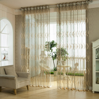 Circle Jacquard Organza Tulle Curtains Fabric For Window
