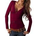 Женщины Crop Топ Футболка Femme Blusas V шеи Тонкий Fit С Длинным Рукавом Повседневный Осень Женщин рубашка Blusas Femininas Vetement LJ4944U