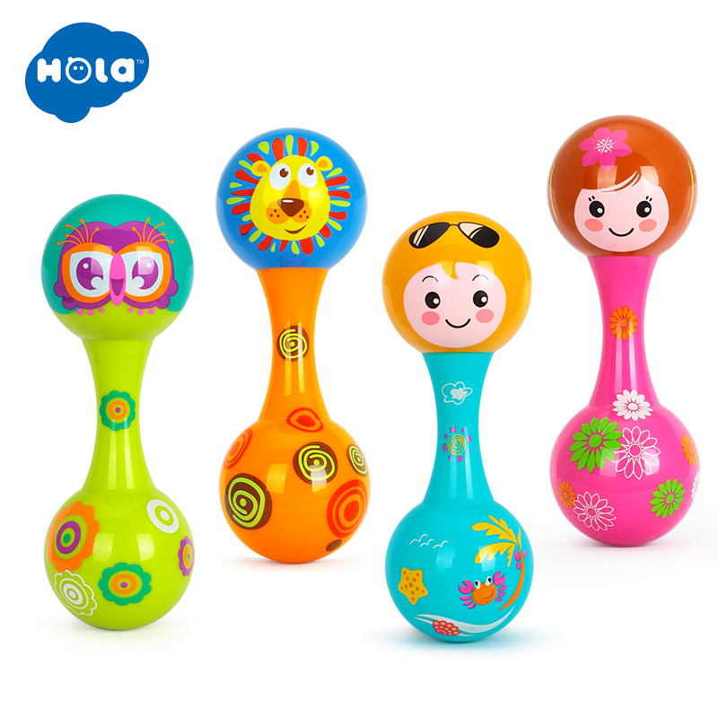HOLA 3102A Baby Toys Dolls Musical Instruments Wood Rattles Toys For Babies Child Baby Shaker Toy For Children Gift Toys Shaker