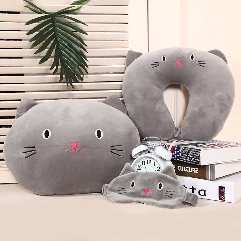 Cute Cat Pattern Travel Pillow with Eye Mask Cartoon U Type  Pillow Cotton Neck Care Flight Car Pillow Airplane Office Nap