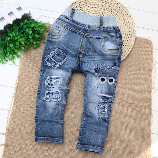2016 New Style Enfant Garcon Boys Jeans Baby Trousers Kids Ripped Jeans Fille Children 1-2-3-4 Years Old Jeans Enfant Garcon