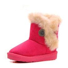 Hiver Enfants Bottes Épais Chaud Chaussures Coton-Rembourré En Daim Boucle Garçons Filles Bottes Garçons Bottes de Neige Enfants Chaussures UE 20-32