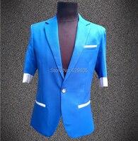 אדון חידוש מזדמן רזה זכר אופנה סגנון חדש חליפת מסיבת חתונה של גברים בליזר הלבשה עליונה קצר שרוול תלבושות ג 'אז