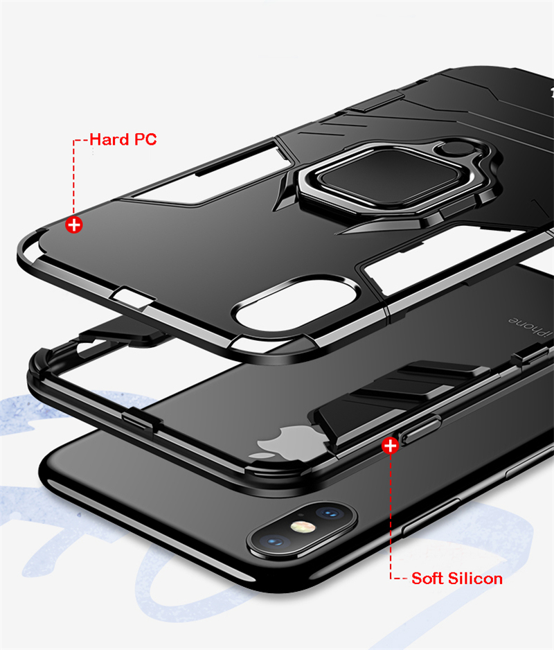 Luxury Armor Shockproof Kickstand Phone Case For iPhone XS MAX XR XS X 8 7 6S Plus 5S SE Ring Stand Holder Bracket Cover Funda (3)