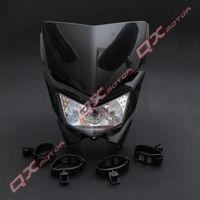 12V 35W Streetfighter Headlight Black Head Light Custom Motorcycle Head Lamp Universal For Dirt Bike