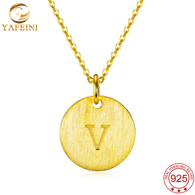 YAFEINI 925 Sterling Silver Jewelry a Pendant Necklace Letter V Silver a-z Initial Letters Name Alphabet Pendant GNX10471