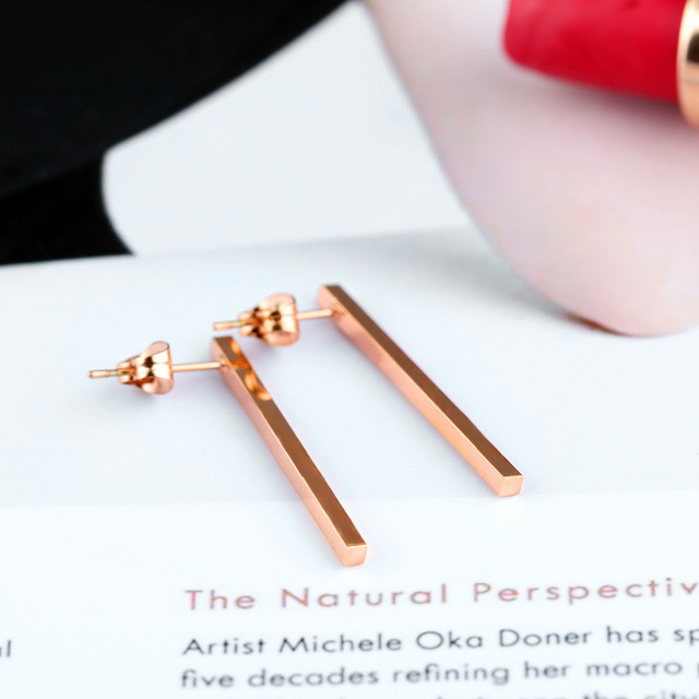 Classical Bar Stud Earrings For Women Rose Gold Color 3 Size Hight Plished Party Bridesmaid Jewelry Gift GE314