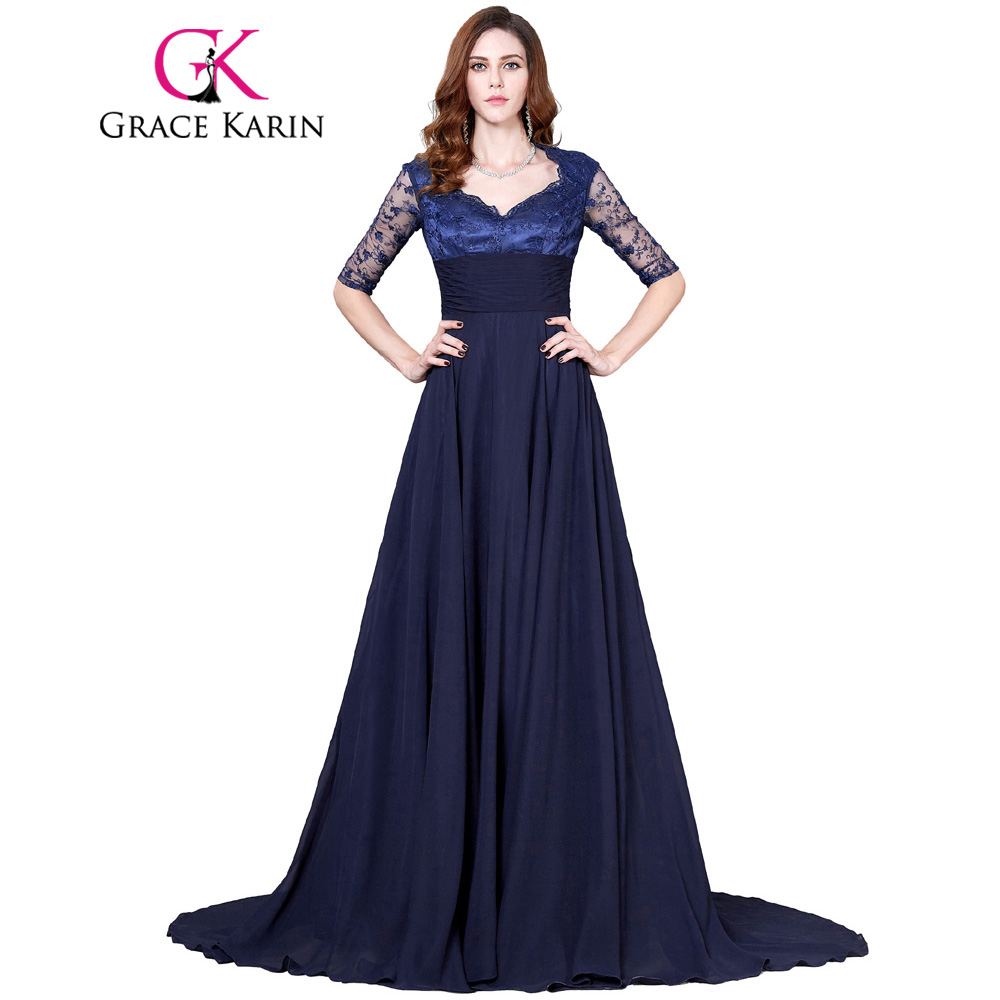 Grace Karin Navy Blue Long Prom Dresses 2017 Elegant
