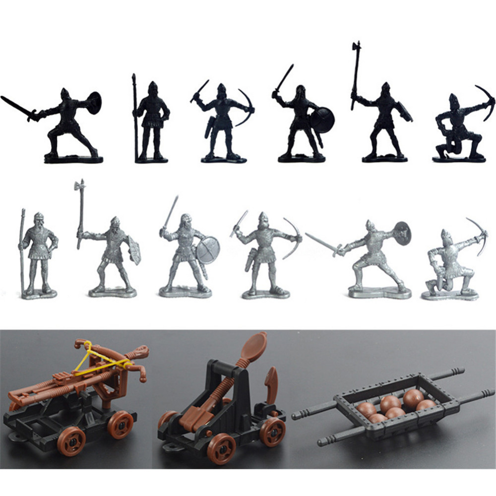 12 Ancient Toy Soldiers & 3 Toy Chariot Catapult Ballista Weapons Set new 12pcs ancient toy soldiers