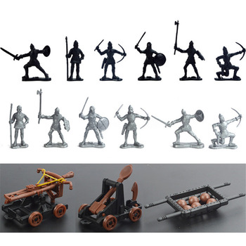 12 Ancient Toy Soldiers & 3 Toy Chariot Catapult Ballista Weapons Set image