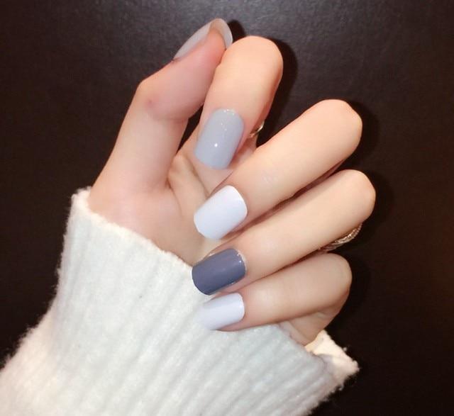New Cute Kawaii Ligne Designed Fake Nails 24 Pcs Grey Blue White ...