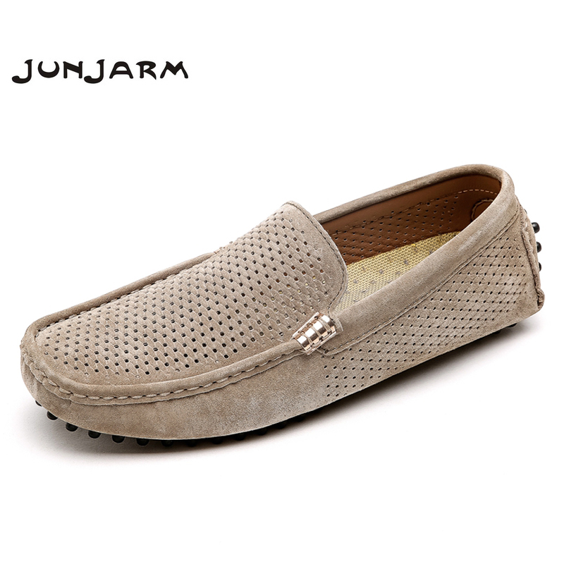 JUNJARM 2018 Brand Fashion Summer Style Soft Moccasins Men Loafers High Quality Mens Slip On Shoes Gommino Cool Men Driving Shoe