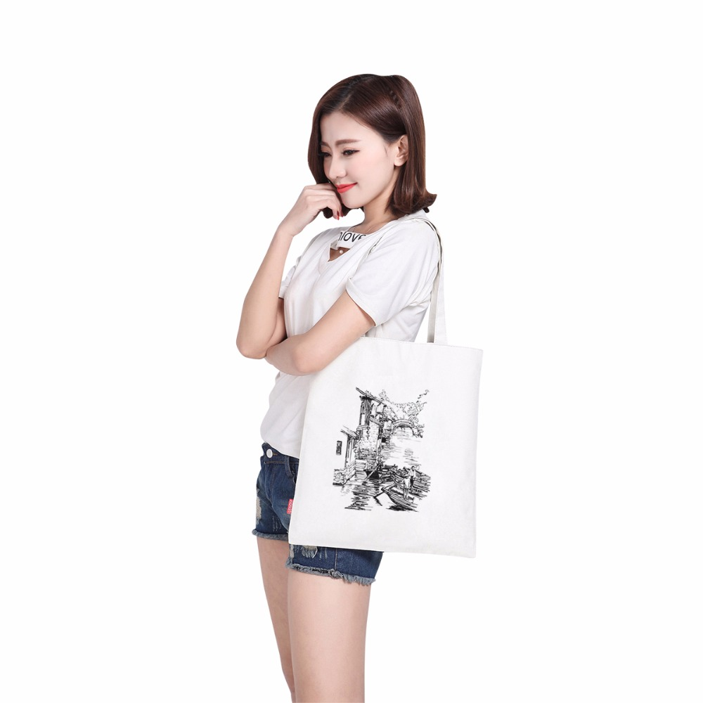 Clasic waterproof canvas printing cute handbag bag shoulder men shoulder handbag fashion silicone shopping bag