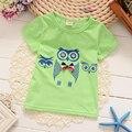 1-4 T Meninos T Camisas Dos Miúdos Roupas de Algodão T Do Bebê Meninas Padrão Da Coruja Projeto Roupa da Criança 5 cores Nova Chegada