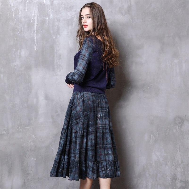 Donna O Maglioni Manica Patchwork Lavoro Femininos Vintage collo Maglia Lavorato 2019 Primavera Vestidos Vestiti Lunga A Di 8zUwxU1