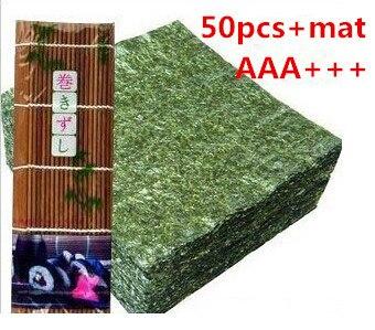 AAA + + оптовая продажа, высокое качество, водорослей, нори для суши, японских нори, 50 шт./компл. + бамбуковые накатки, инструменты для нори|bamboo rolling mat|for sushibamboo roll | АлиЭкспресс
