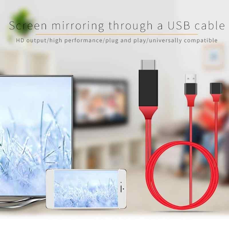 電話 8 ピン Usb は、 Hdmi オスケーブルマイクロ USB タイプ C HDTV テレビアダプタ HD 1080 1080P HDMI コンバータ同一画面アンドロイド Iphone