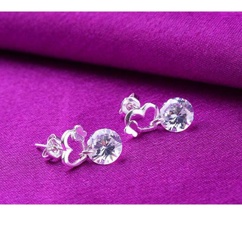 925 סטרלינג עגילי כסף פרפר נשיקת אהבת לב זירקון קריסטל Stud עגילים לנשים ילדה תכשיטי brincos S-E192