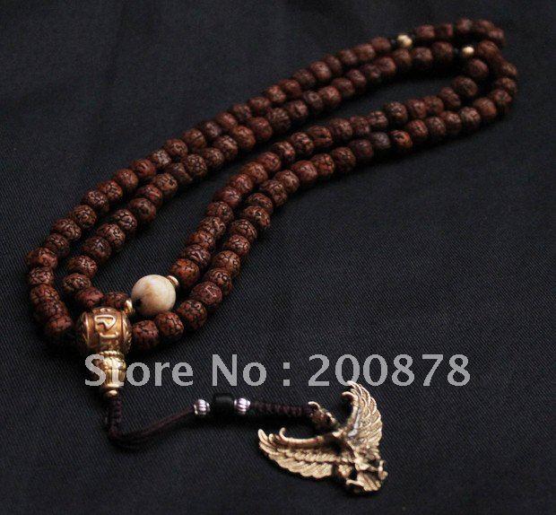 BRO691 Tibetan 108 beads hand-picked Rudraksh Bodhi mala,8mm,OM MANI PADME HUM GURU,brass Roc amulet charm,free ship