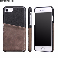 For Apple IPhone 7 7 Plus Case Genuine Leather Cover Back Dual Color With Card Holder