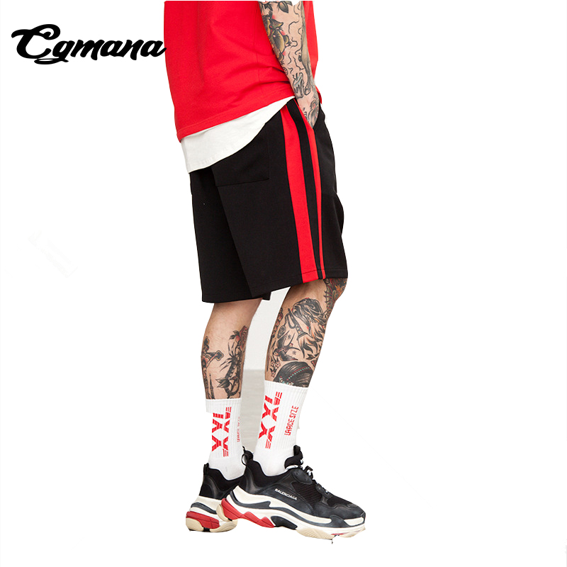 CGmana 2018 Summer Casual Shorts Retro Shorts Hit Color Side Stripes Mens Skateboard Shorts Hip Hop Mens Trousers Homme