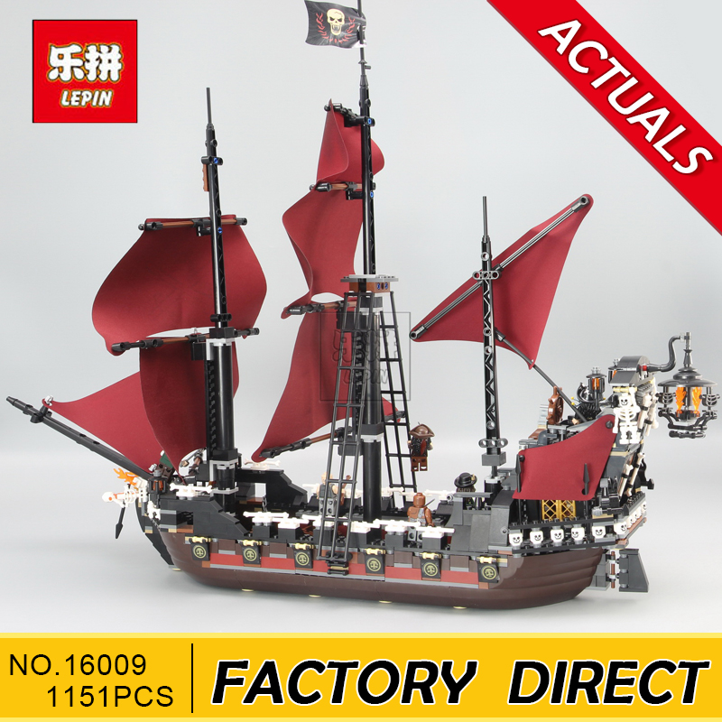 Lepin 16009 1151Pcs Pirates Of The Caribbean Queen Anne's Reveage Model Building Kit Blocks Brick Toy Compatible 4195 free shipping new lepin 16009 1151pcs queen anne s revenge building blocks set bricks legoinglys 4195 for children diy gift