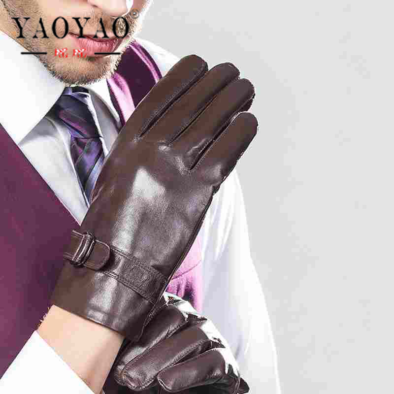 US $45 88 |YY8039 Spring Male Casual Suede Genuine Leather Thin Gloves Man  Short Black/Brown Commercial Business Adjustable Belt Mittens-in Men's