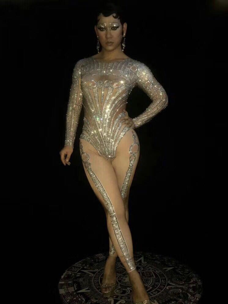 Las mujeres Sexy leotardo de set de monos brillante cristales mujer DJ DS trajes de actuación en discoteca mostrar pista de baile ropa - 3