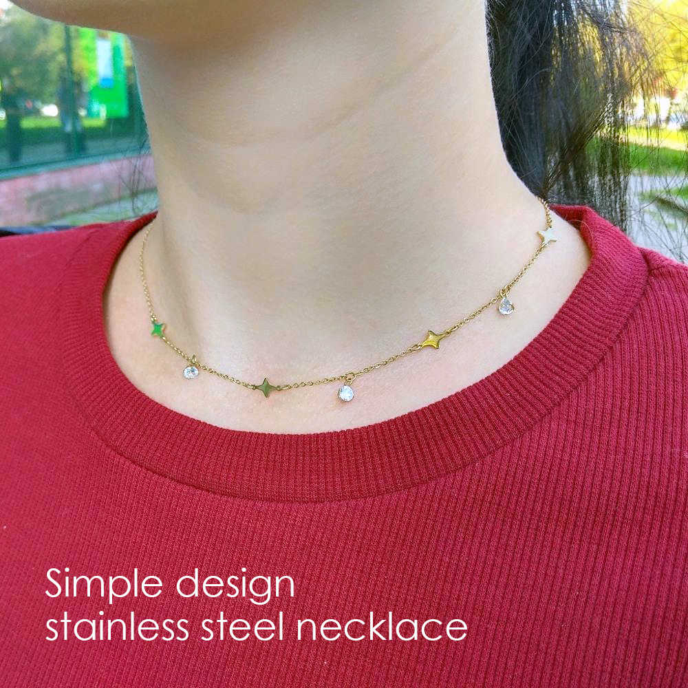 eManco Star Pendant Necklace Gold Color Stainless Steel Link Chain Necklace Jewelry Fashion for Women Accessory For Best Friend