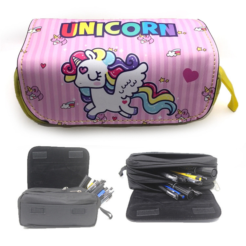 Unicorn Pencil Case Animated Cartoon PU Fabric Double Super Big Pencil Bag School Cute Pencil Box Bts Stationery for Kids Gift simple cute pencil cases transparent abs plastic big pencil case for student