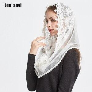 Image 3 - LEO Anvi Ren Vô Cực Khăn Choàng Nữ Trắng Ngà Mantilla Công Giáo Truyền Thống Nhà Nguyện Vân Hijab Khăn Quàng Cổ Và Đeo Hồi Giáo Hijab