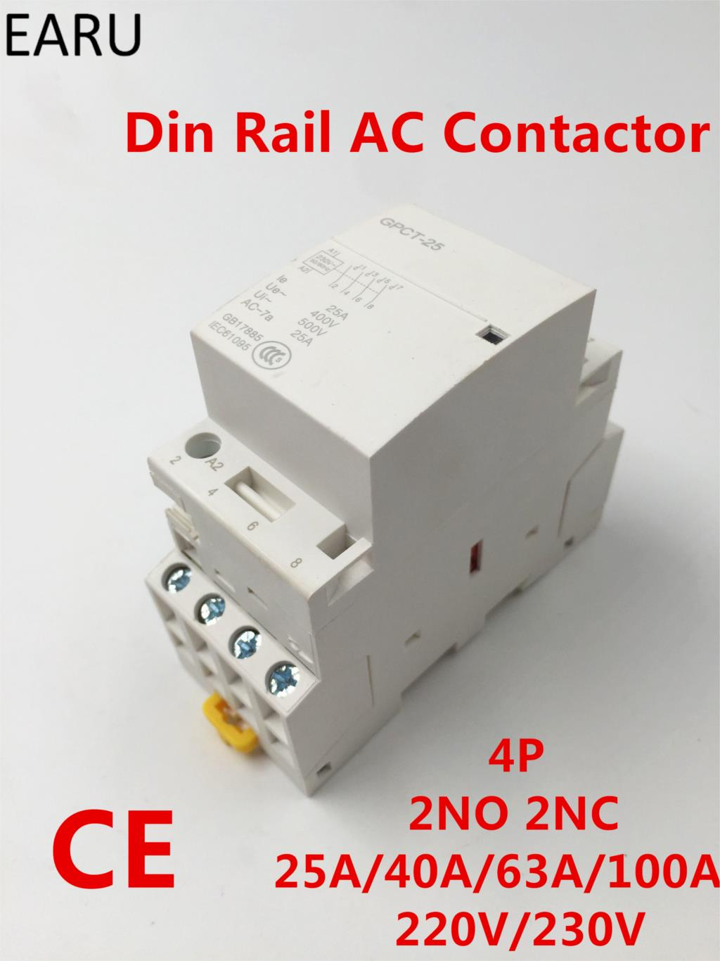 TOCT1 4P 100A 4NO 230V 50//60HZ Din rail Household ac contactor