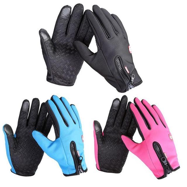 Anti Slip Windproof Thermal Warm Touchscreen Black Zipper Gloves 1
