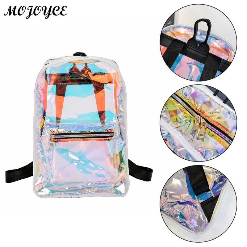 New Transparent Holographic Backpack Korean Style Small Rucksack For Girls Shining Hologram Shoulder Bags Mochilas Feminina #5