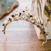 Rosa/Negro Crystal Beads Nupcial Tiara de La Boda Tiara Celada De La Corona de Moda Hecha A Mano de Oro Accesorios Para el Cabello Diadema Nupcial