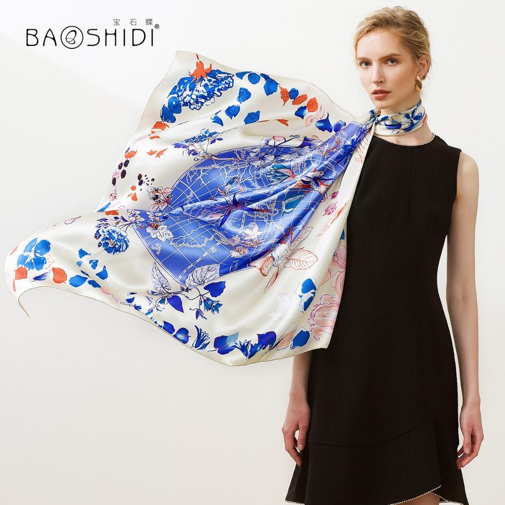 BAOSHIDI 2018 New Arrival 16m m 100 silk satin scarf Fashion Square Scarves women floral