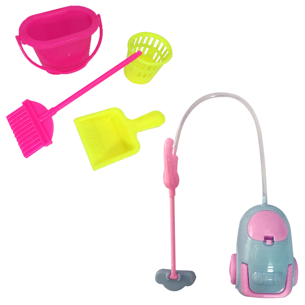 NK One Set Doll Accessories Plastic Dolls Cleaning Kit For Girl Household Cleaning Tools For Barbie Dolls Best Gift For Child DZ