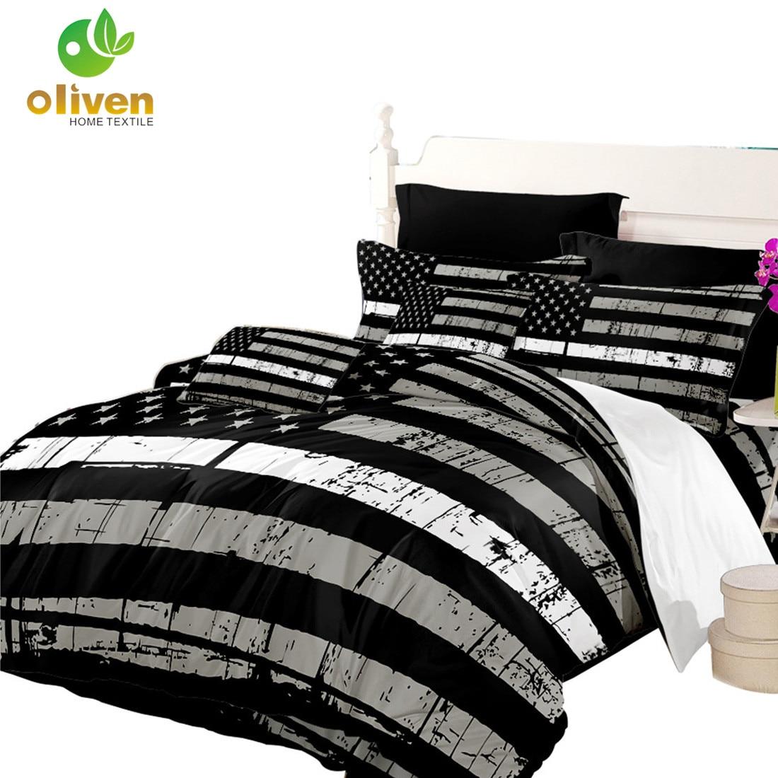 antique flag bedding set black white american flag design duvet cover set stars stripes bedding king queen bedclothes 3pcs d35