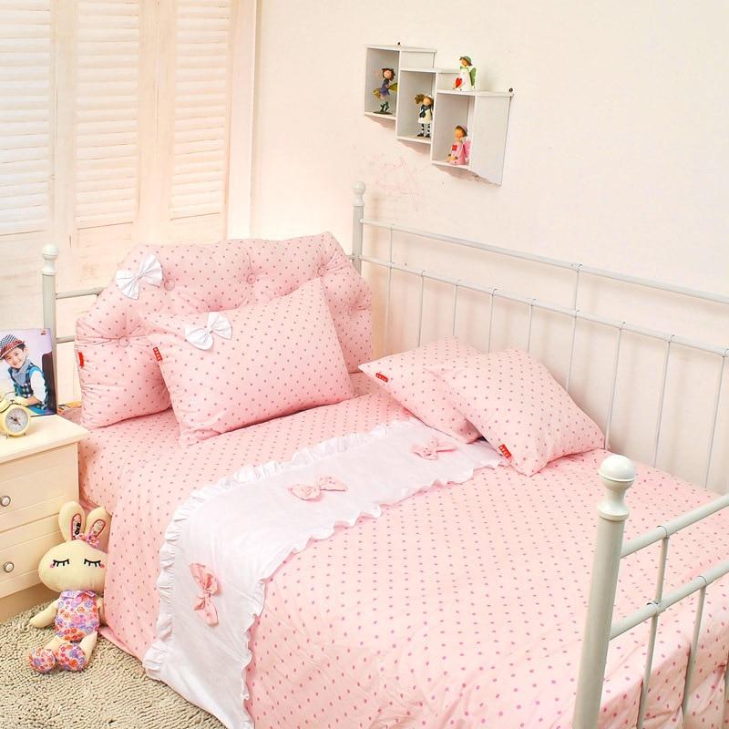 Polka dot princess bow bedding single bed child bedding set blue pink