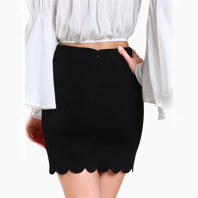 COLROVIE Black Sexy Mini Fitting Skirt Scallop Edge Form Women Elegant OL Summer Pencil Skirts 2017 Back Zip Up Brief Club Skirt 6
