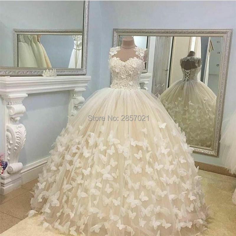Ball Gown Elegant Wedding Dresses With Handmade Butterfly Flower Gorgeous Bridal Gowns 2018 Sheer Neck Custom Made Lace Up Back
