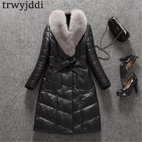 2018 Fashion Winter Leather Down Jacket With Big Fox Collar Fur Suede Long Winter Coat Down Parka Black Plus Size Outwear A1204