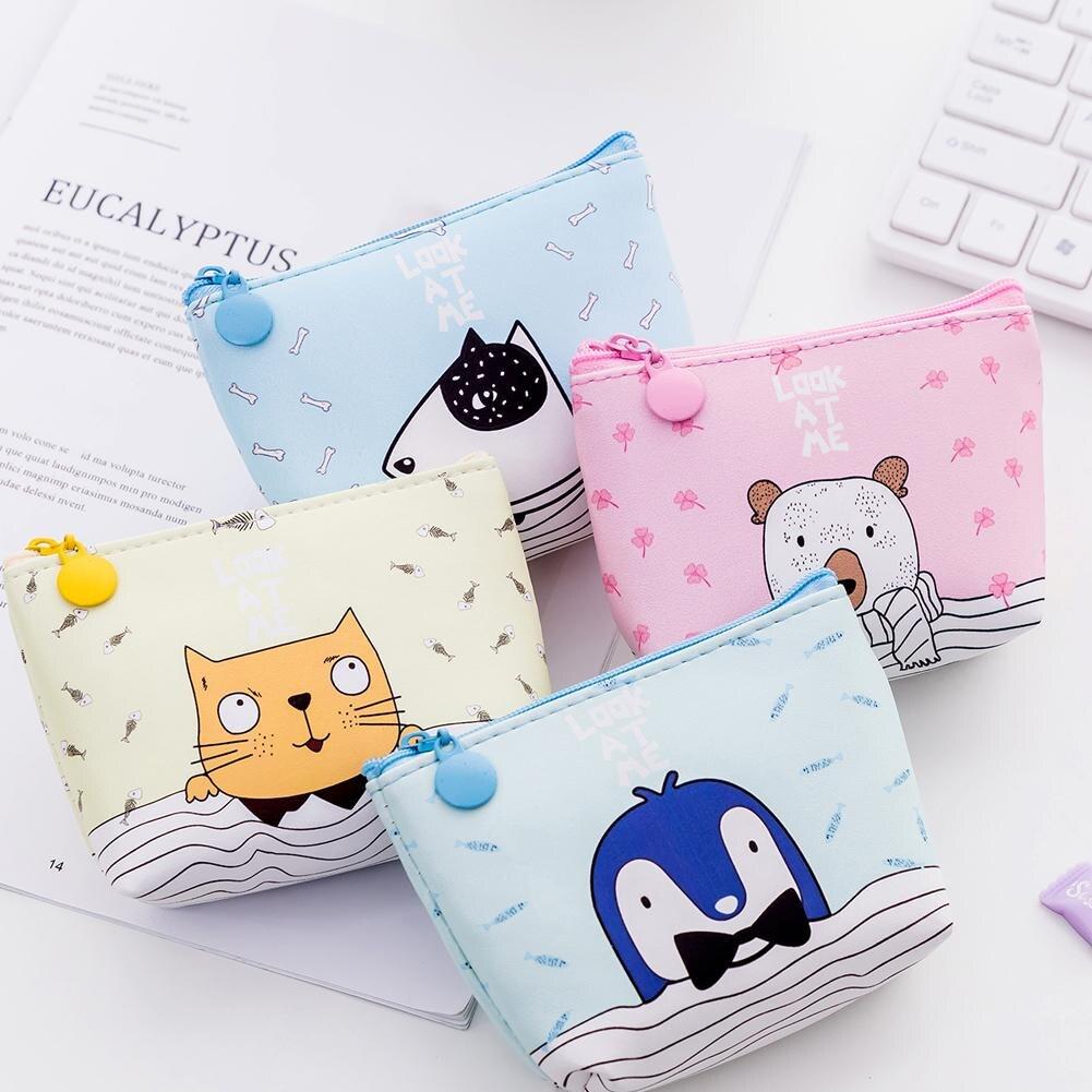 100% Wahr Frauen Geldbörsen Koreanische Stil Kleine Tier Cartoon Nette Geldbörse Frische Tragbare Münze Lagerung Schlüssel Kopfhörer Leder Geschenk Tasche Brieftasche Heller Glanz