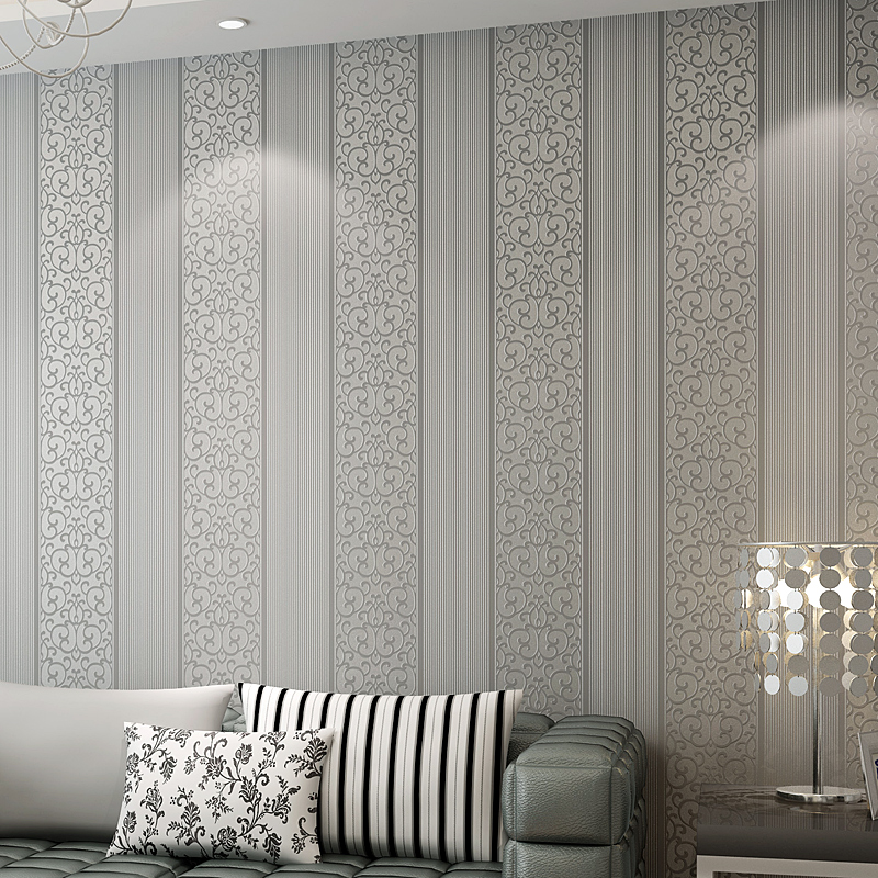 3D Room Wallpaper Roll Non-woven Embossed Vertical Stripes Wall Papers Home Decor Living Room Bedroom Wall Coverings Modern