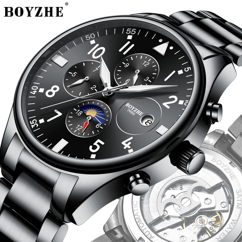 BOYZHE Men Automatic Mechanical Watch Stainless Steel Time Luminous Brand Moon Sports Business Casual Watch Relogio