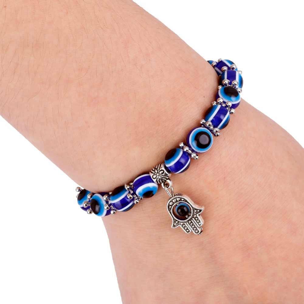 Retro Blue Bead Lucky Evil Eye Hand Of Fatima Ring Hamsa Jewelry Ethnic