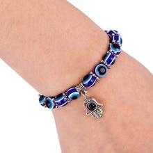 Fashion Silver Color Blue Evil Eye Hamsa Hand Fatima Palm Bracelets for Women Bead charm bracelet Ethnic style Handmade Jewelry